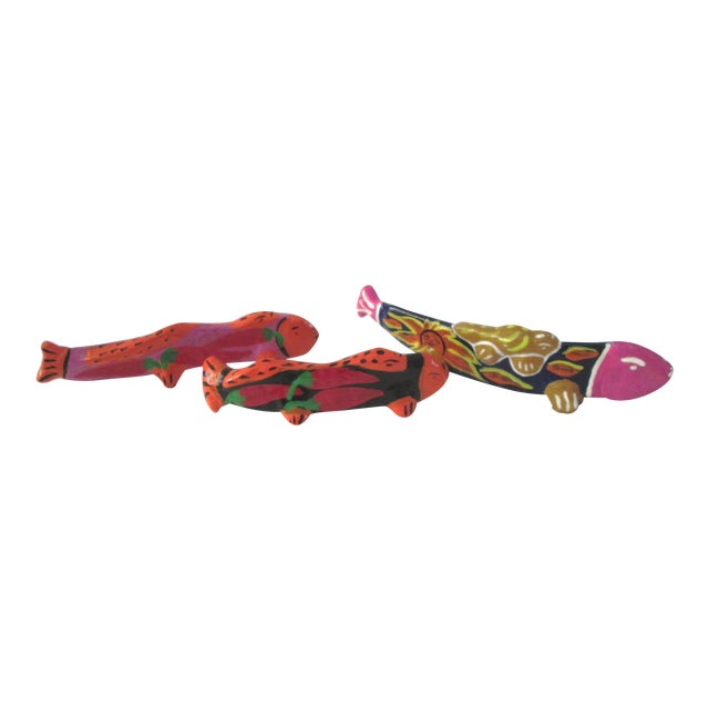 Vintage Mexican Hand Made Maraca Fish - 3 - Image 1 of 7