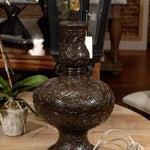 Image of Midcentury Brown Floral Chalkware Lamp