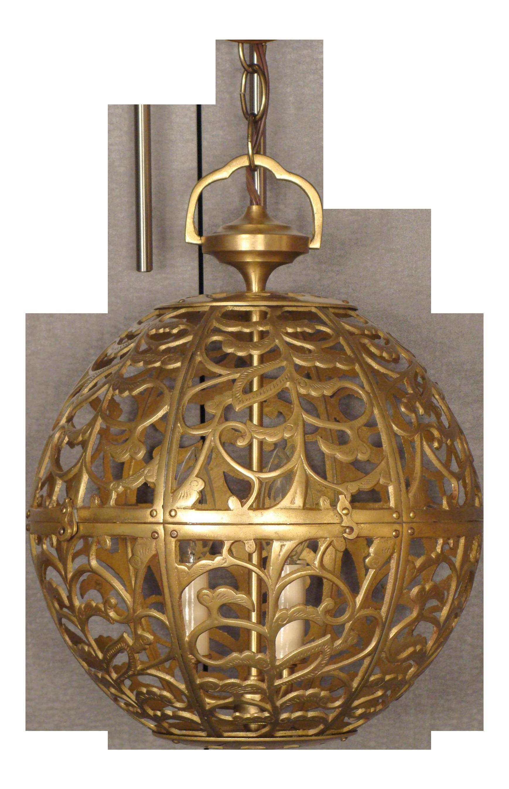 Vintage Brass Globe Light