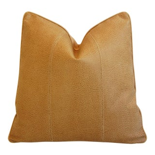 Premium Golden Italian Leather & Linen Pillow