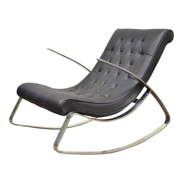 Contemporary Modern Chrome Steel Rocker Rocking Lounge Chair Mid Century Style - Image 1 of 10