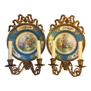 Antique Plate Wall Sconces - A Pair
