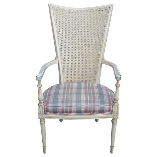 Hollywood Regency Style White Cane Arm Chair - Image 1 of 5