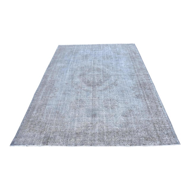 Image of Vintage Distressed Silver Gray Handmade Turkish Oushak Rug - 7′2″ × 10′8″