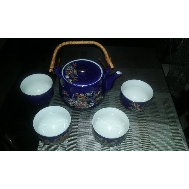 Cobalt Blue Asian Vintage Peacock Tea Set for Four - Image 3 of 3