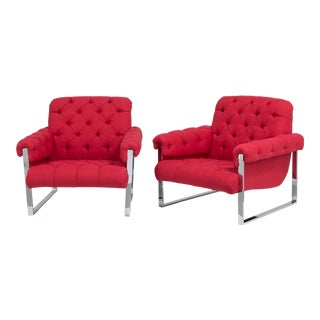 A Pair of Milo Baughman Chromium Steel Framed Armchairs 1970s