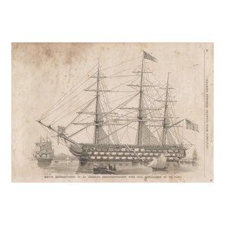 Vintage Print of a Ship Diagram