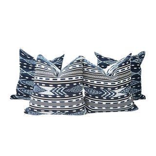 Indigo Ikat Handwoven Guatemalan Pillows - Set of 4