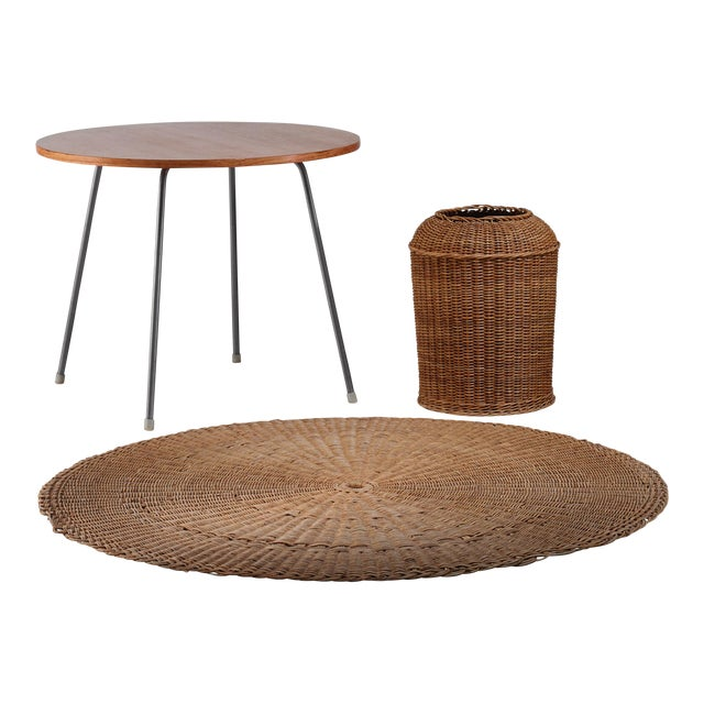 Egon Eiermann Table with Wicker Basket and Floor Mat, Germany, circa 1950 - Image 1 of 3