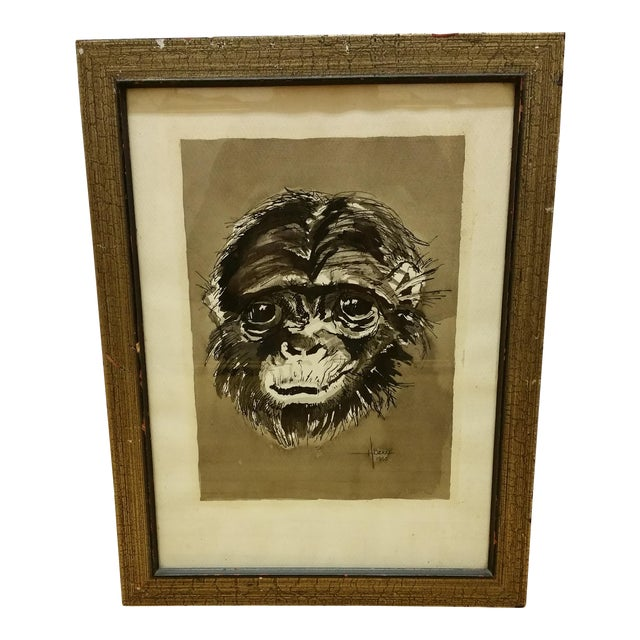 Mid Century Ink & Watercolor Monkey Portrait - Image 1 of 4