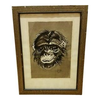 Mid Century Ink & Watercolor Monkey Portrait
