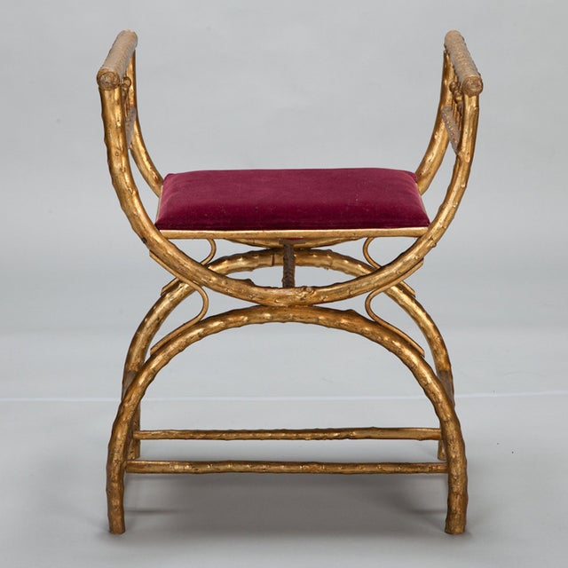 Gilt Wood Egyptian Style Stool With Velvet Seat - Image 3 of 5