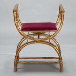 Image of Gilt Wood Egyptian Style Stool With Velvet Seat