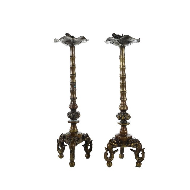 Image of Antique Japanese Bronze Frog Candlesticks - A Pair