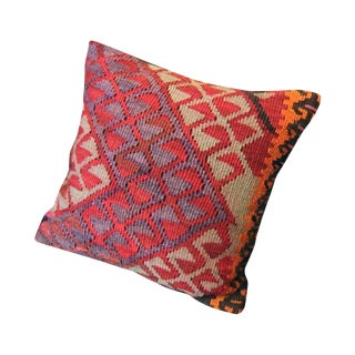 Colorful Red Turkish Kilim Pillow Case
