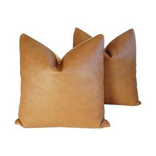 "24"" Custom Tailored Italian Brown Leather/Velvet Feather/Down Pillows - Pair"