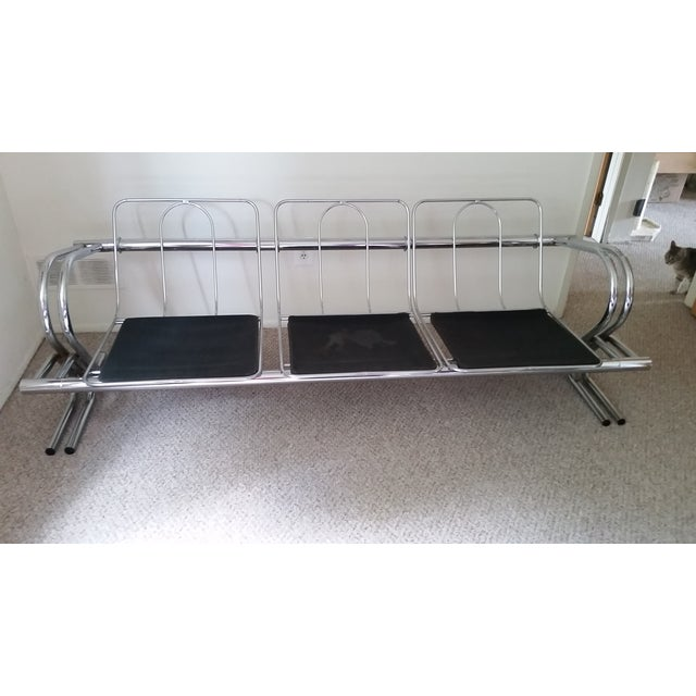 Vintage Chrome 3-Seat Sofa With Foot Stool - Image 5 of 9