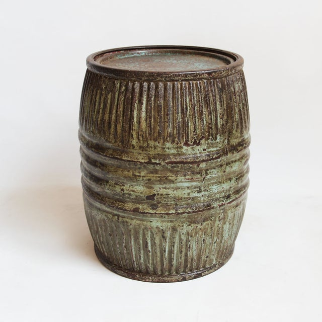 Image of Vintage Iron Barrel Side Table
