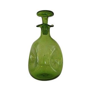 Hand Blown Blenko Green Glass Decanter