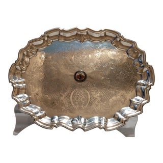 Vintage English Equestrian Silver Plated Serving Platter with Feet