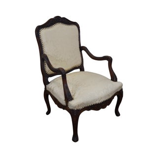 Antique French Louis XV Carved Fauteuil Arm Chair