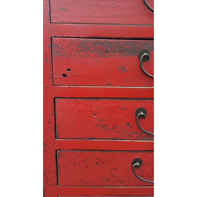 Red Chinese Extra Tall Dresser - Image 8 of 8