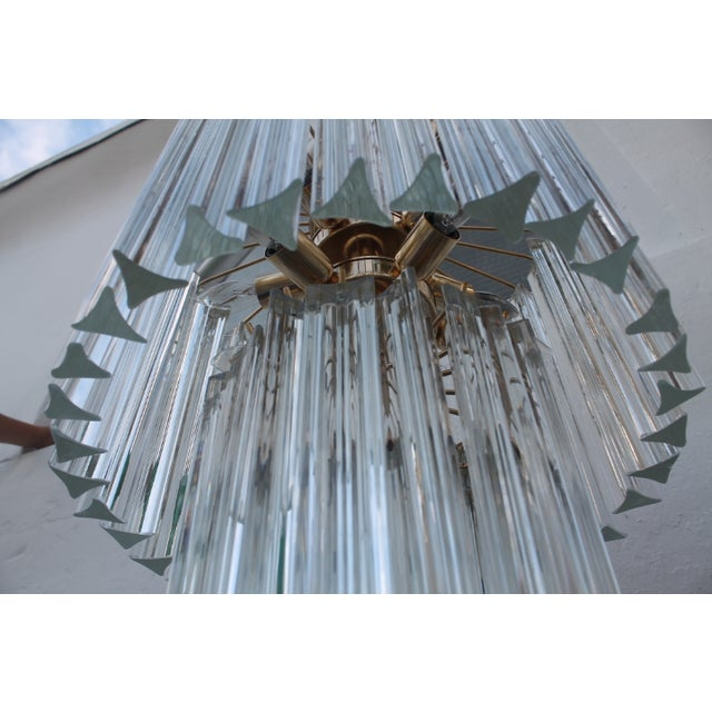 Image of Venini Three-Tiered Glass Prism Chandelier.