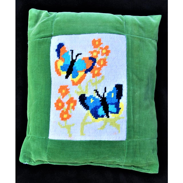 Vintage 1970's Butterfly Needlepoint Pillow - Image 2 of 6