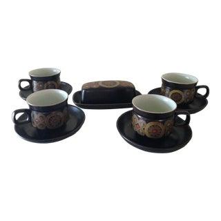 Denby of England Arabesque Tea Cups & Butter Dish