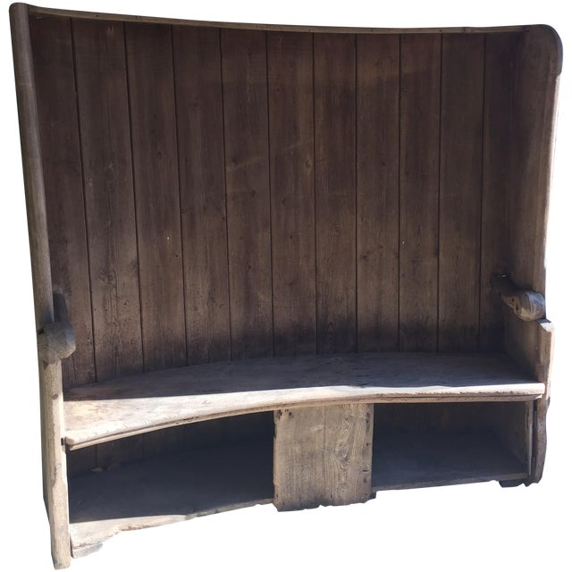 18th Century English Pine Curved Settle Bench - Image 1 of 11