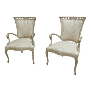 Antique Hollywood Regency Lounge Chairs - A Pair