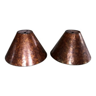 Two Vintage Amber Mica Lampshades