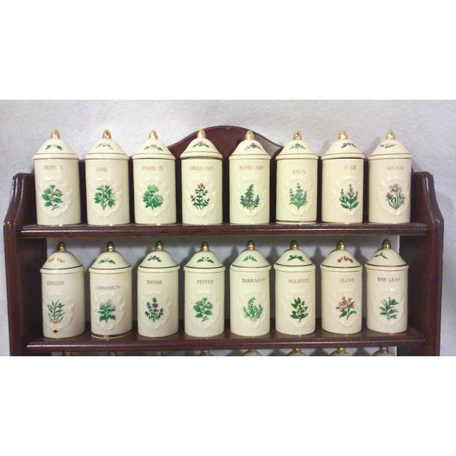 Lenox Porcelain Spice Jars with Wall Spice Rack - Set of 24 - Image 4 of 7