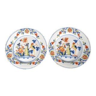 Lambeth High Street Delftware Chinoiserie Plates With Parrot - A Pair
