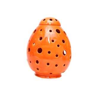 Moroccan Hand Painted Orange Egg Lamp Shell