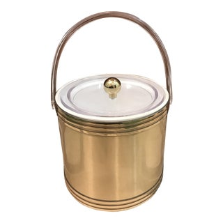 Lucite & Brushed Brass Ice Bucket