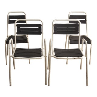 Vintage Black & White Bistro Chairs - Set of 4