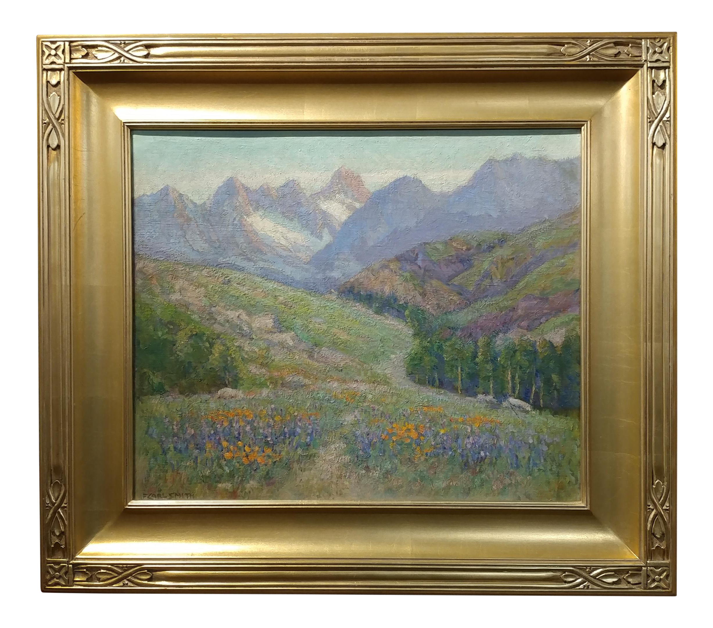 Frederick Carl Smith  California Wild Flowers Beautiful Impressionist  Landscape Oil Painting C1930s Oil