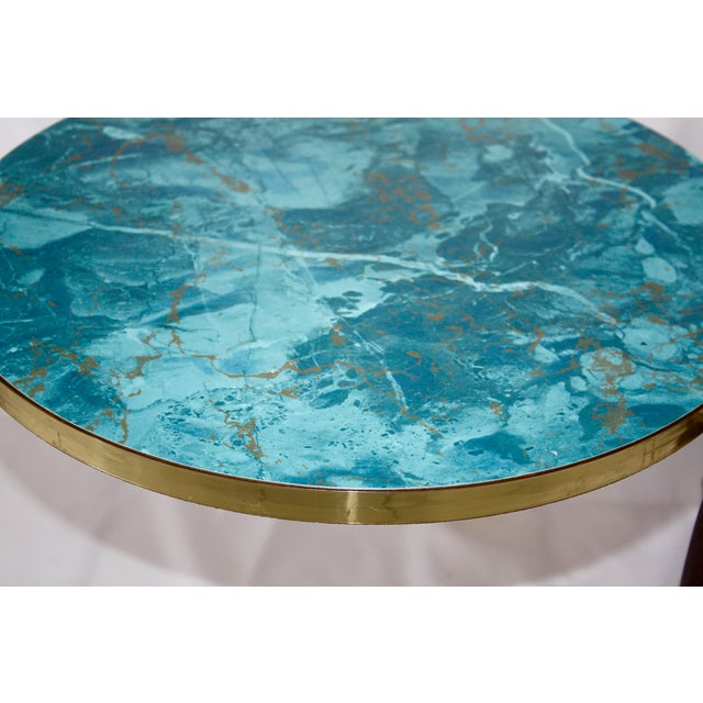 Faux Aqua Marble Stacking Tables - a Pair - Image 4 of 6