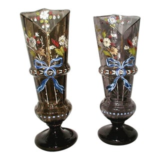 Hand Blown Etched & Painted Glass Vases - Pair