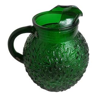 Emerald Glass Textured Ball Pitcher