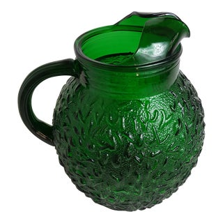 Emerald Glass Textured Ball Pitcher