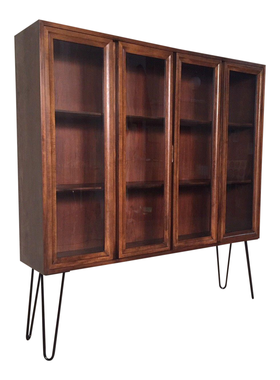 midcentury modern display cabinet bookcase with hairpin legs