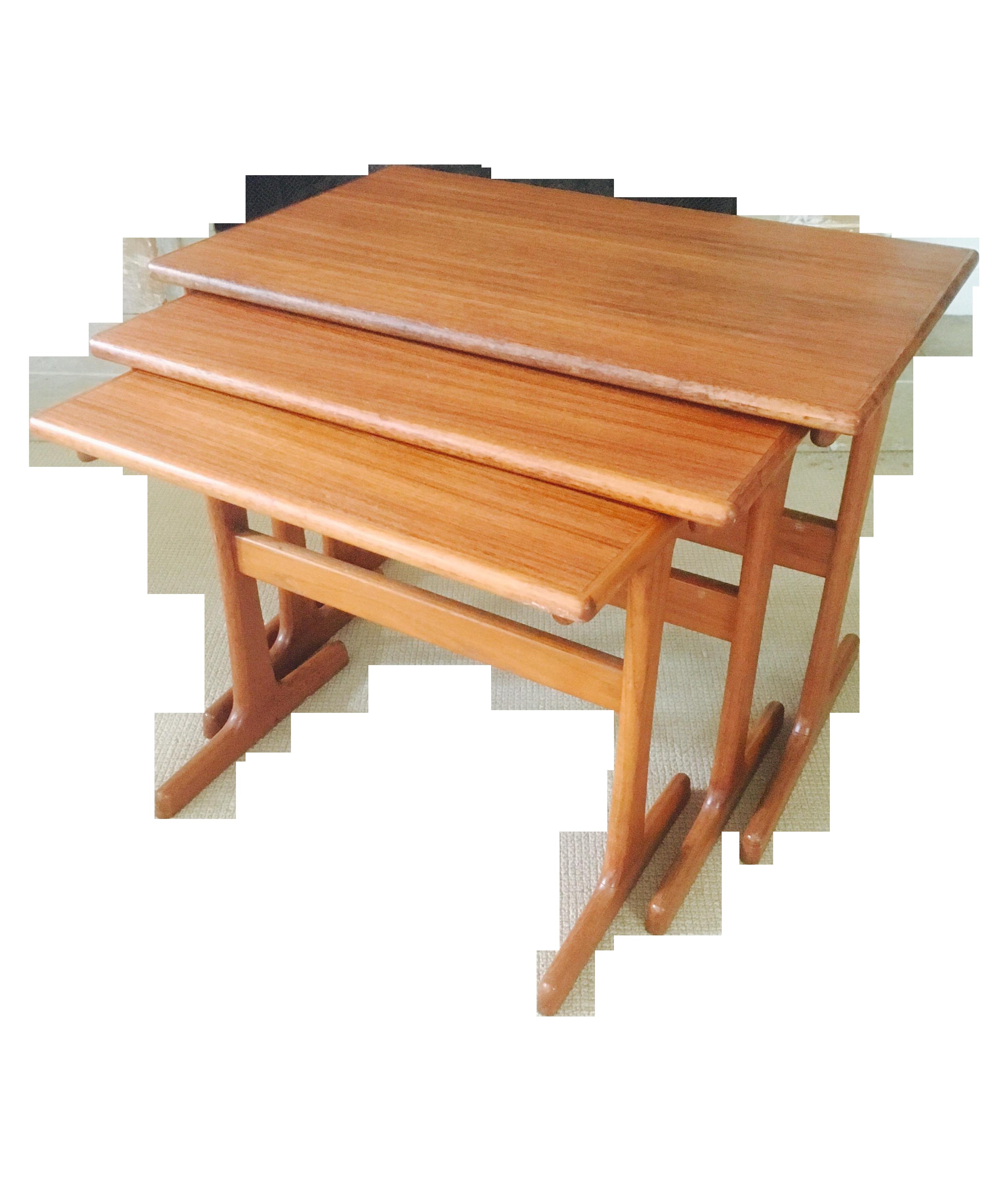 Danish Modern Teak Nesting Tables   Set Of 3   Image 1 Of 8