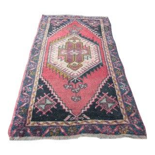 Vintage Turkish Handmade Rug - 3' 6'' x 1' 10'