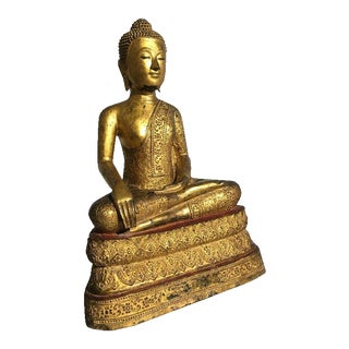 Thai Rattanakosin Lacquered Gilt Bronze Image of Buddha Maravijaya