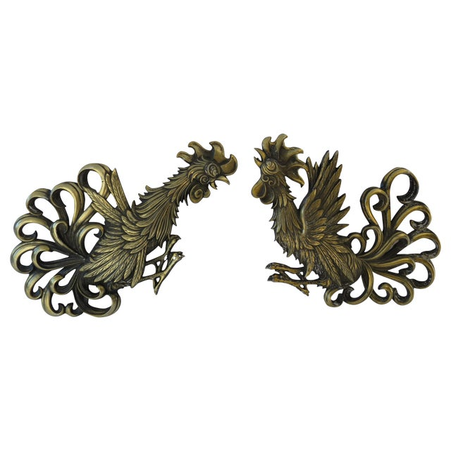Brass Rooster Wall Hangings- A Pair - Image 1 of 9
