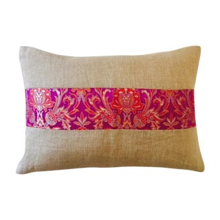 Jute & Pink Silk Brocade Band Pillow