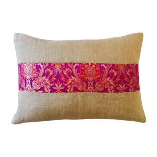 Jute & Pink Silk Brocade Band Pillow