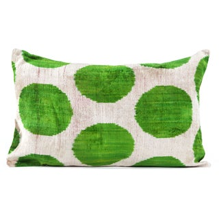"Silk Velvet Apple Green Ikat Pillow- 16"" x 24"""